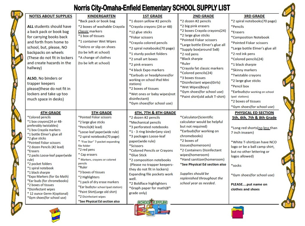 NCOE Elementary School supply list